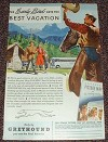1947 Greyhound Bus Ad, Early Bird Gets Best Vacation!!