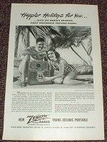 1947 Zenith Trans-Oceanic Portable Radio Ad, Holidays!