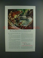 1950 Travelers Insurance Ad w/ Amazonian Tree Frog!