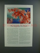 1943 Travelers Insurance Ad w/ Australian Sea Horse