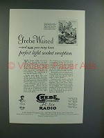 1928 Grebe A-C Six Radio Ad - Perfect Light Socket