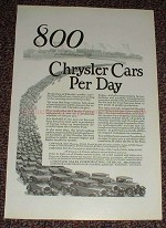1925 Chrysler Car Ad - 800 Chrysler Cars Per Day, NICE!