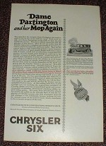 1925 Chrysler Six Car Ad, Dame Partington & Her Mop!!