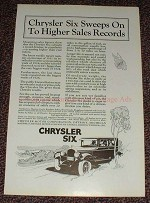 1925 Chrysler Six Car Ad - Sweeps on to Higher Sales!!