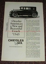 1925 Chrysler Six Ad, A New & Beautiful Coach $1545!!