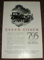 1925 Essex Coach Car Ad, $795 Never A Value Like This!