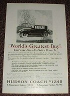1925 Hudson Super Six Car Ad, World's Greatest Buy!!