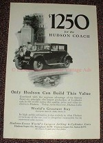 1925 Hudson Coach Ad, $1250 Can Build This Value!!