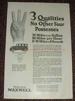 1925 Maxwell Standard Sedan Car Ad, 3 Qualities!!!