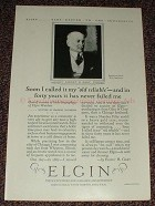 1925 Elgin Watch Ad w/ Elbert H. Gary - Old Reliable!!