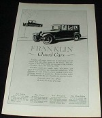 1923 Franklin Closed Cars Ad, NICE!!!