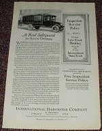 1923 International Harvester Motor Truck Ad, Safeguard!