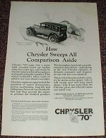 1926 Chrysler 70 Royal Sedan Ad, NICE!!!