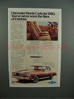 1980 Chevrolet Monte Carlo Car Ad - Seen the Likes