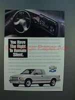 1994 Chevy S-Series S-10 Pickup Truck Ad - Silent