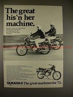 1972 Yamaha 100cc LS-2 Motorcycle Ad, His 'n Her!!