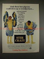 1980 Stir Crazy Movie Ad w/ Gene Wilder Richard Pryor!