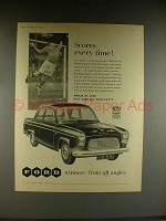 1958 Ford Anglia De Luxe Car Ad - Scores Every Time