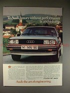 1982 Audi Car Ad, Luxury w/o Performance is Unthinkable