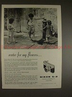 1957 Nikon S-2 S2 Camera Ad - Water For My Flowers!!