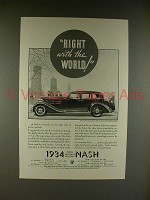 1934 Nash Ambassador Eight Car Ad - Right World