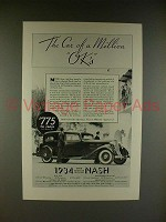 1934 Nash Ambassador Eight Car Ad - Million OK's