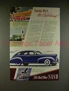 1938 Nash 4-door Sedan Car Ad - Look Out, Its Catching