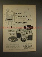 1957 Aires 35-IIIL Camera Ad - Word Travels Fast, NICE!