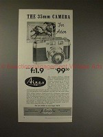 1957 Aires 35-III Camera Ad - 35mm Camera for Action!!