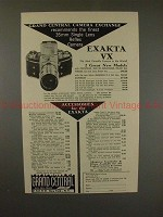 1953 Exakta VX Camera Ad, Grand Central Camera Exchange