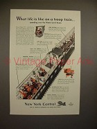 1943 New York Centeral Train Ad - Life on Troop Train