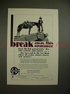 1930 Santa Fe Railway Ad w/ Cowboy - Break Away