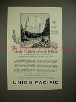 1926 Union Pacific Railroad Ad - Great White Throne