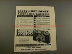 1953 Konica I Camera Ad - Facts Not Fancy About 35mm!!