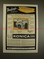 1956 Konica III Camera Ad - Breaks the Price Barrier!!