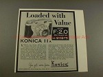 1956 Konica IIa Camera Ad - Loaded With Value, NICE!!