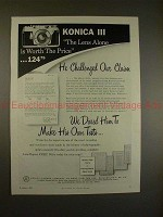 1957 Konica III Camera Ad - Lens Alone is Worth Price!