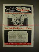 1957 Konica III Rangefinder Camera Ad - Worth the Price