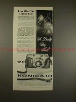 1957 Konica III Camera Ad - Read What The Experts Say!!