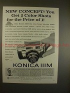 1959 Konica IIIm Camera Ad - 2 Color Shots, Price of 1!