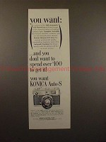1964 Konica Auto-S Rangefinder Camera Ad - You Want!!