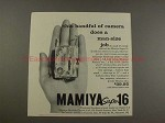 1958 Mamiya Super-16 Camera Ad - This Handful of Camera