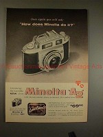 1957 Minolta A2 Camera Ad - How Does Minolta Do It?!?