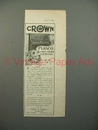 1900 Crown Piano Ad - They Charm Everyone