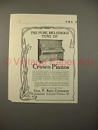 1913 Crown Piano Ad - Pure Melodious Tone