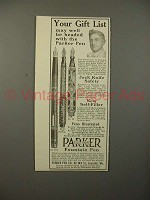 1913 Parker No 14, 20 1/2, 42 1/2 Fountain Pen Ad