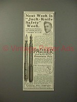 1913 Parker No 23 1/2, 20 Fountain Pen Ad - Safety