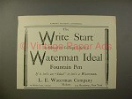 1902 Waterman Ideal Fountain Pen - Write Start