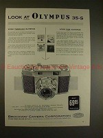 1957 Olympus 35-S Camera Ad - Look at Olympus 35-S!!