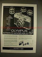 1959 Olympus Ace Camera Ad - Olympus Inter-Changeable!!